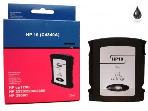 HP 10  C4840A  Black Remanufacured Ink 29ml