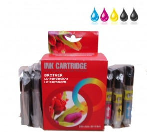 Brother LC-1100 / LC-980BK x 2 / LC-1100 / LC-980  Multipack Compatible Ink